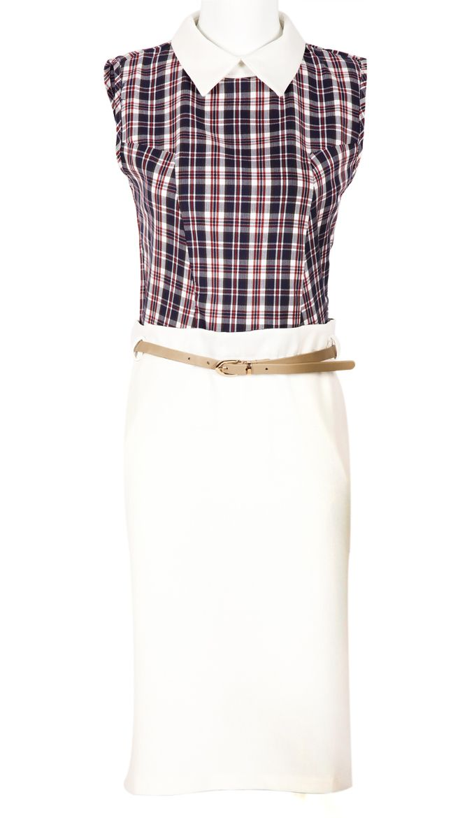 White Lapel Sleeveless Plaid Belt Straight Dress.