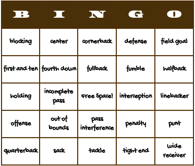 Free Printable Football Bingo Cards Check Out This Fun Board Game