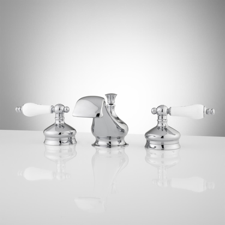 Shannon Widespread Bathroom Faucet  Porcelain Lever Handles Glamorous Porcelain Handle Bathroom Faucet 2018