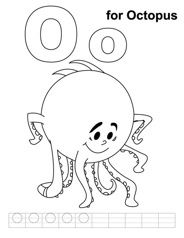 Shy Octopus For Letter O Coloring Page Best Place To Color Kids Handwriting Practice Alphabet Coloring Pages Kids Handwriting
