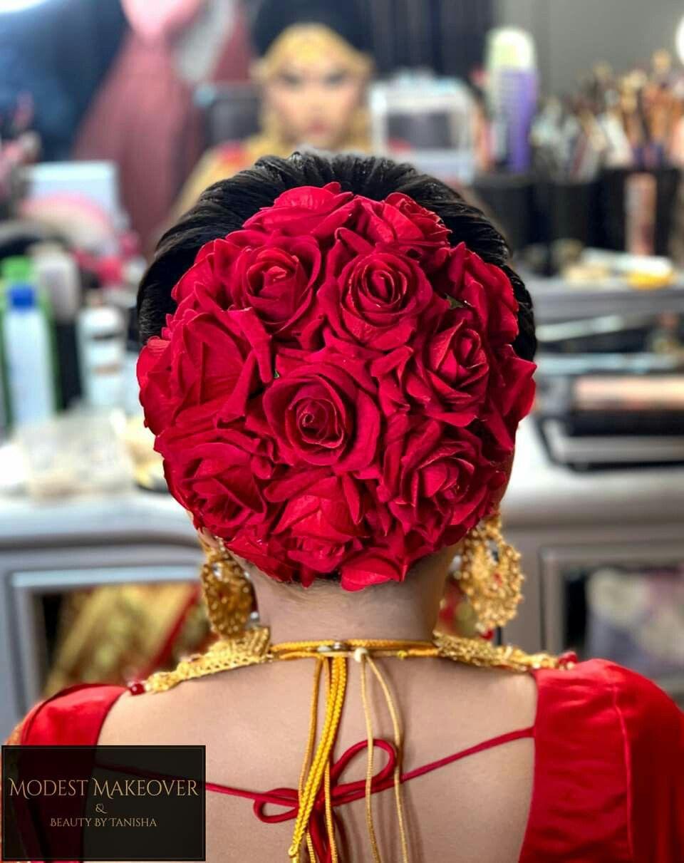 Pin By Rehana Rizwan On Flower Bun Idea Indian Wedding Hairstyles Bridal Hair Buns Bridal Hairdo