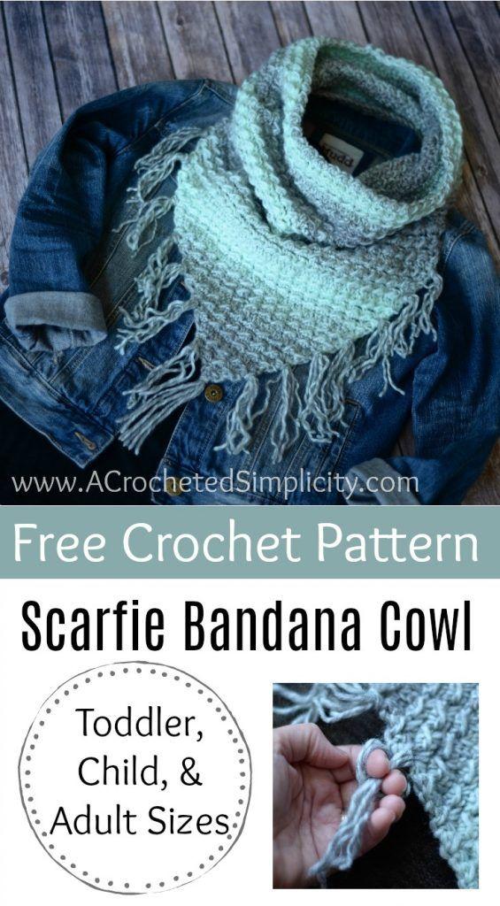 Free Crochet Pattern Scarfie Bandana Cowl Free Crochet Bandanas