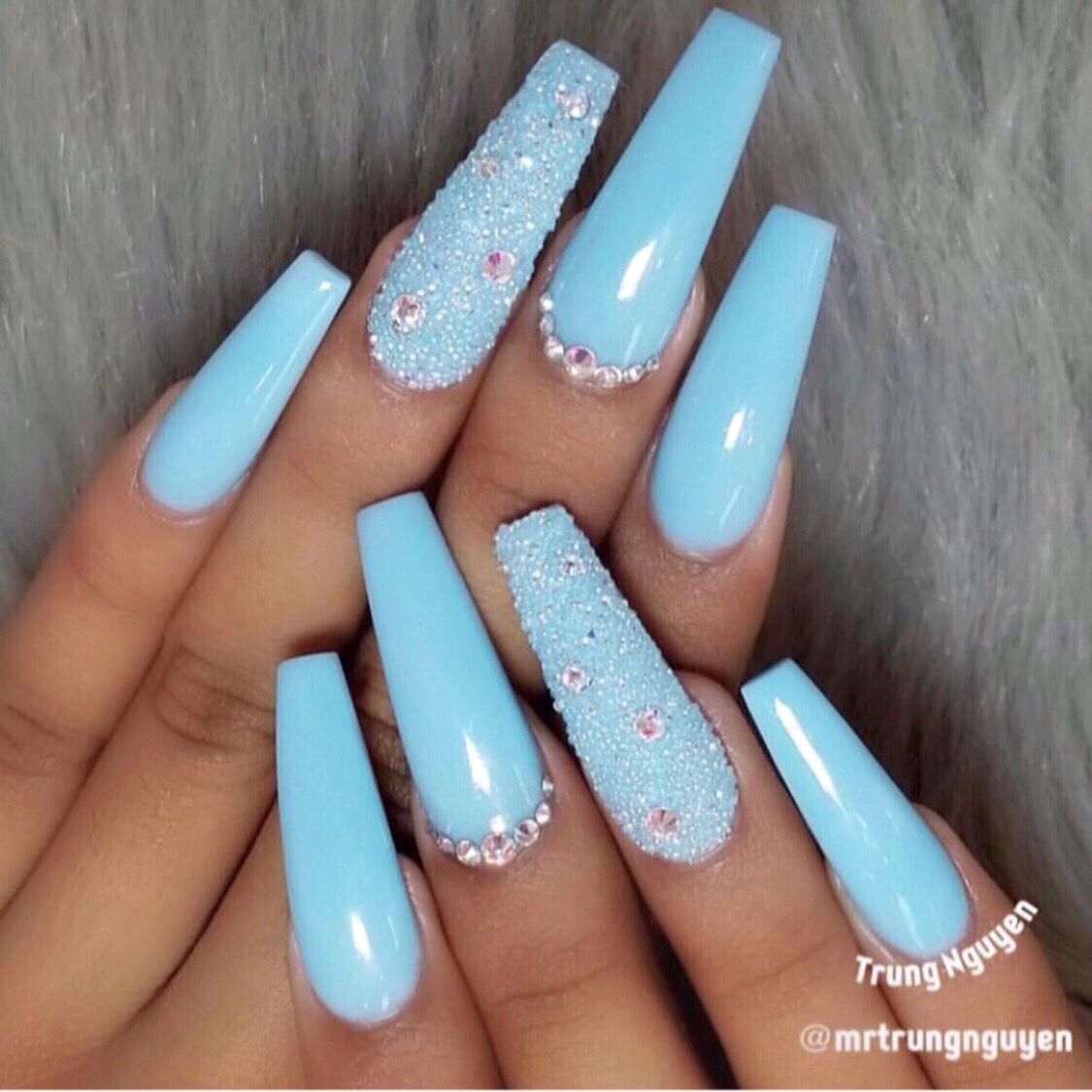 Baby Blue Coffin Nails Blue Acrylic Nails Blue Coffin Nails Long Acrylic Nails