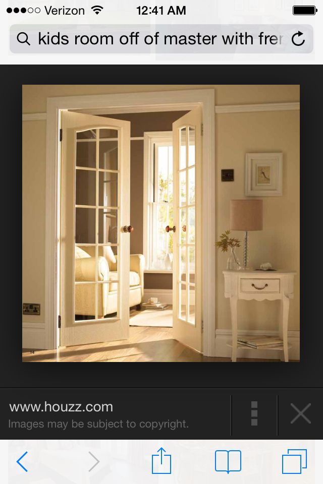 French doors in master to lead to kids' room