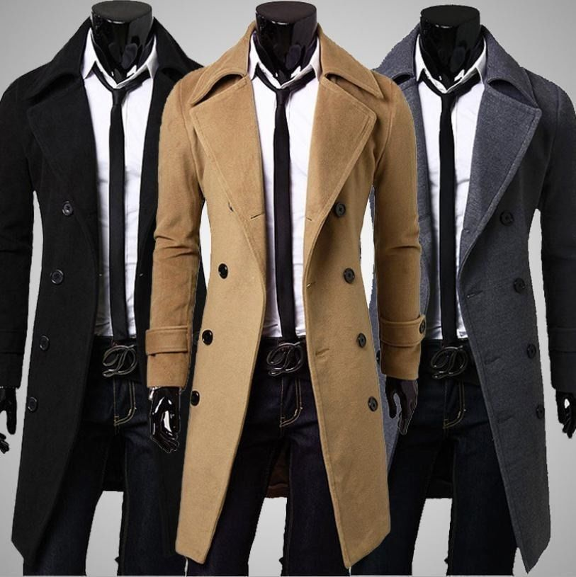 Details about Mens Stylish Trench Coat Winter Long Jacket