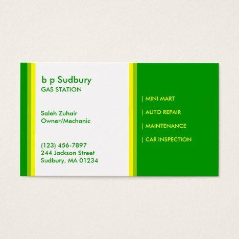 Gas Station Business Card Zazzle Com Unique Business Cards Gas Station Business Essentials