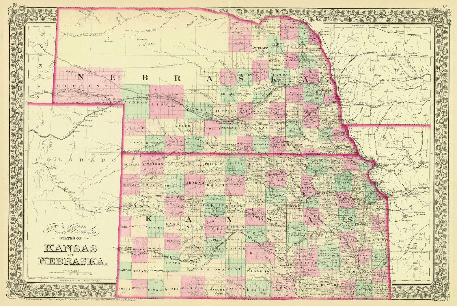 map of nebraska and kansas Map Antique County Township Map Of The States Of Kansas And map of nebraska and kansas