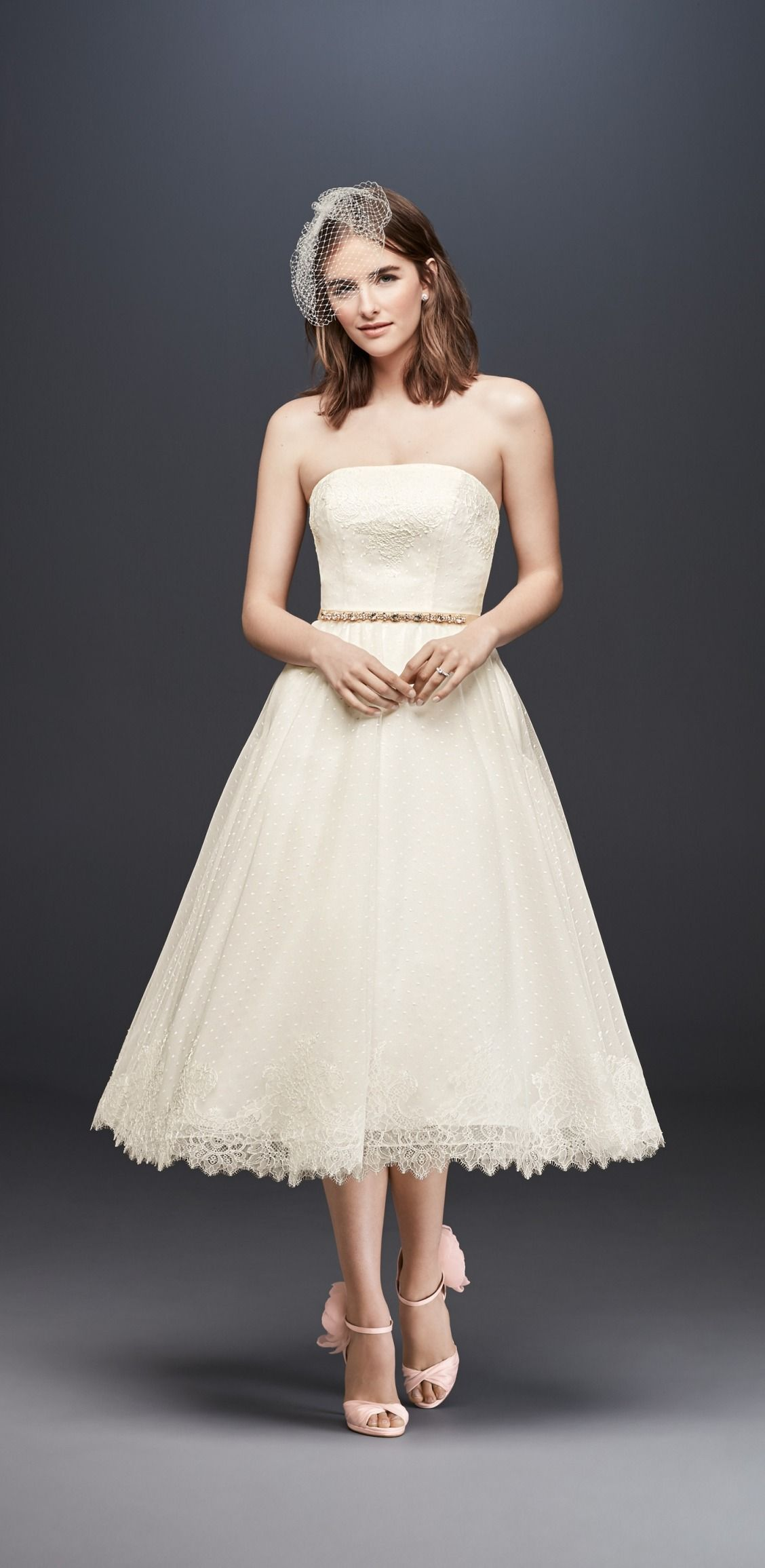 Strapless Dotted Tulle Tea Length Wedding Dress With Lace By