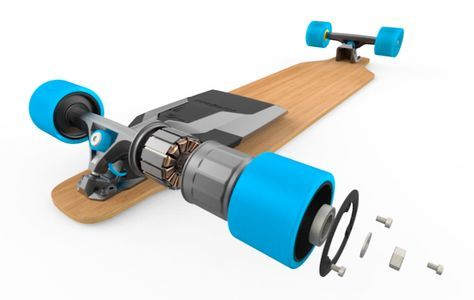 The Mellow Drive Uses Tesla Style Batteries To Convert Any Skateboard Into An Electric Cruiser Electric Skateboard Transportation Design Electricity