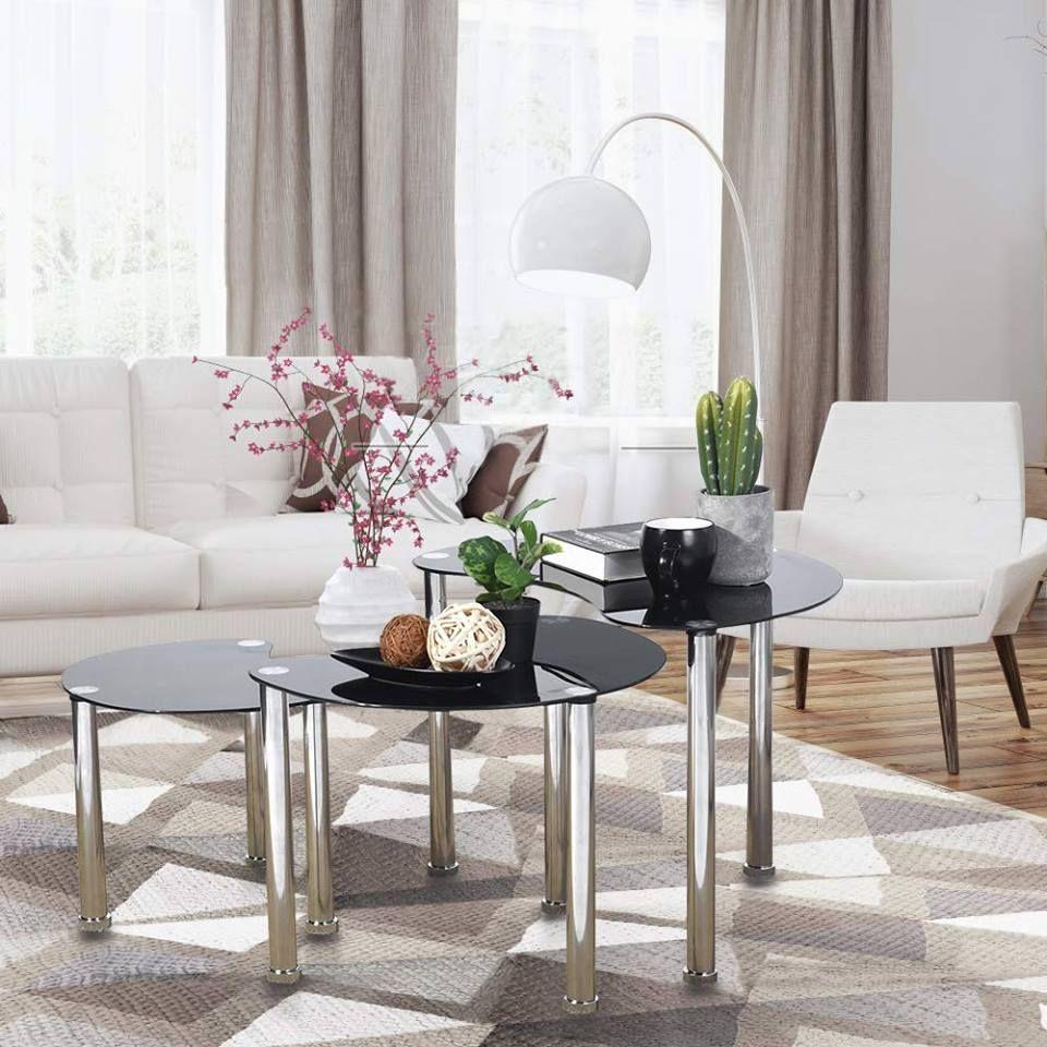 Amazon Glass Nesting Coffee Table Small Sofa Table Set Of 3