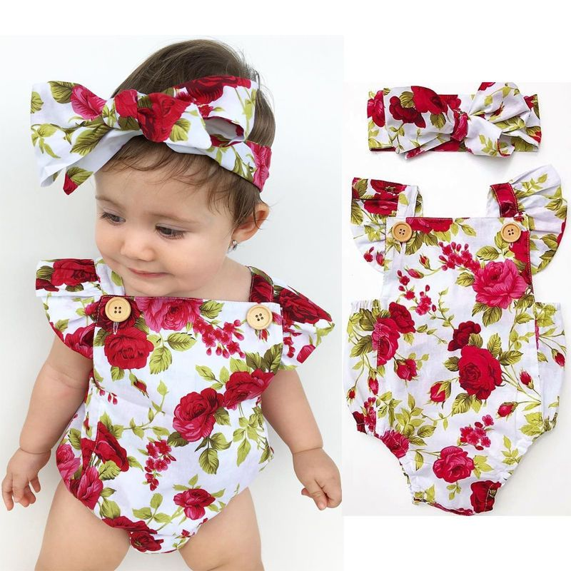 a7358922e6e Newborn Baby Girls Flower Jumpsuit Romper Bodysuit+ Headband Outfits  Sunsuit Cdy