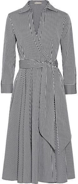 Michael Kors Collection - Gingham Stretch Cotton-blend Poplin Wrap Dress - Black