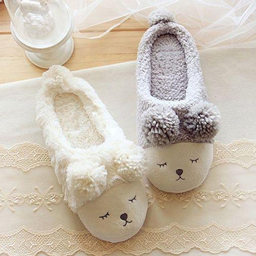 Photo of Women Autumn Winter Cute Sheep Fleece Soft Sole Warm Home Indoor Shoes