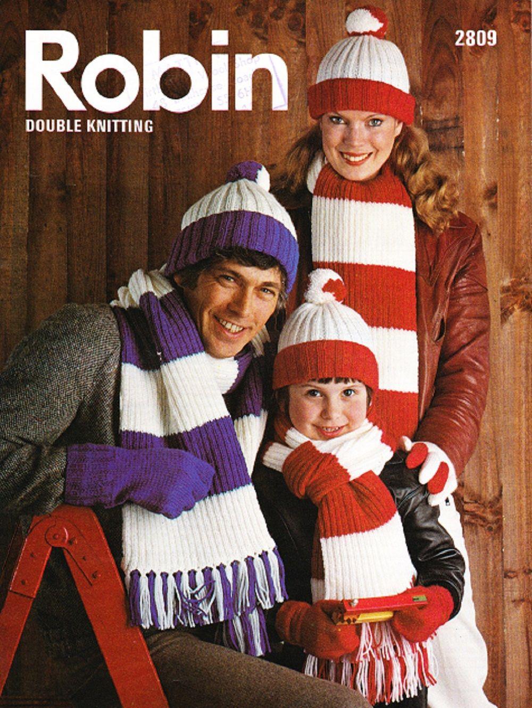 Mens gloves knitting pattern - Robin Knitting Pattern 2809 Dk Family Scarf Mittens Gloves Hat
