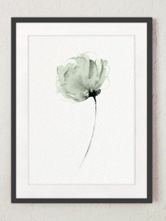 Pastell Grün Seafoam Pfingstrose Wohnzimmer Dekor. Abstrakte Blumen  Illustration Aquarell. Mint Home Dekoration. Minimalistische Moderne  Florale Frauen ...