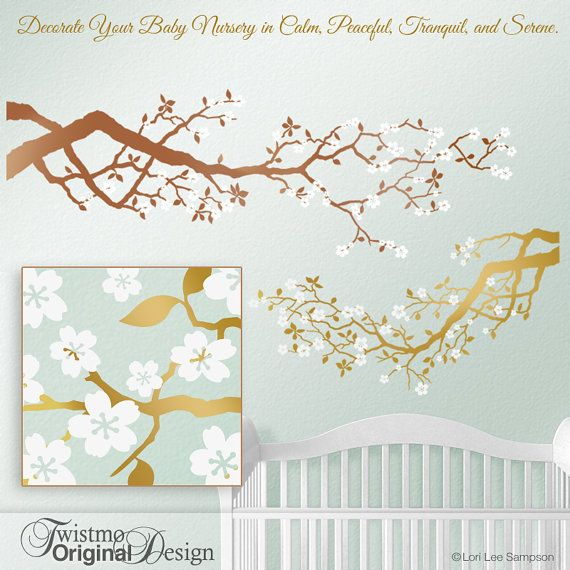 Baby Nursery Gold Tree Wall Decal Cherry Blossoms
