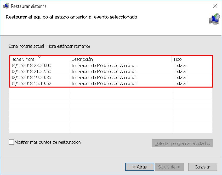 Escoger punto de restauración en Windows 10
