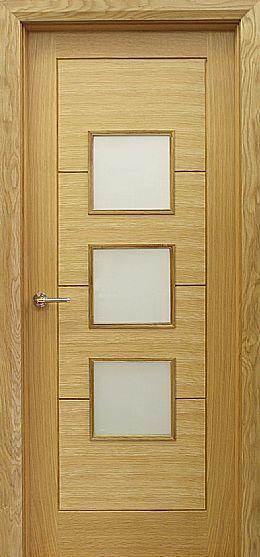 Milan 3 Lite Pre Glazed White Oak Door 40mm Internal Interior Doors Contemporary Doors Oak Doors Walnut Doors Contemporary Doors
