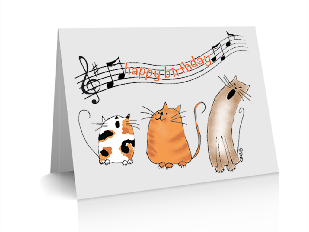 Birthday card catz chorus by cazb handmade greeting cards pinterest