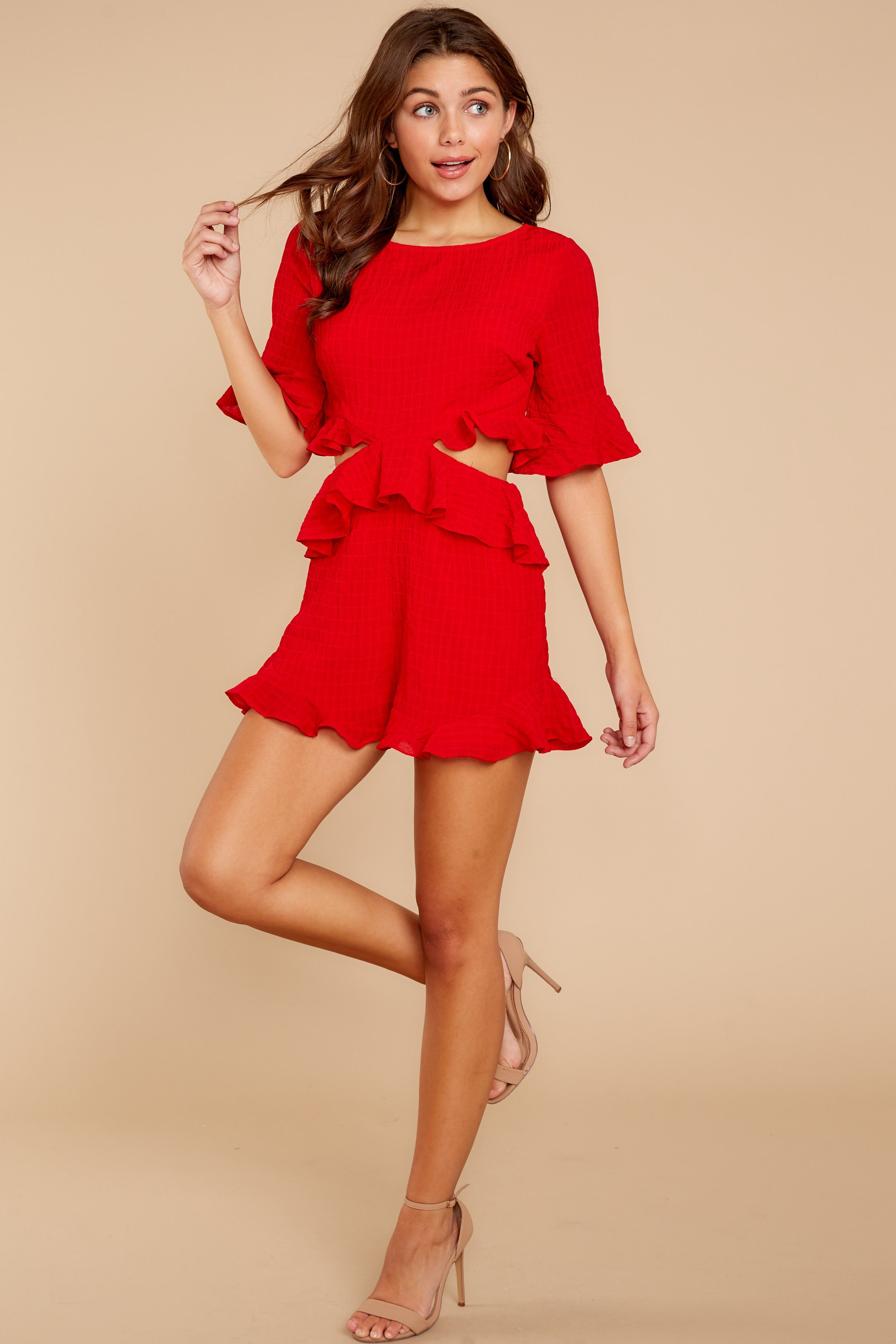 fbf4bef9ef1 Flirty Red Romper - Trendy Short Ruffled Romper - Playsuit -  48.00 – Red  Dress Boutique