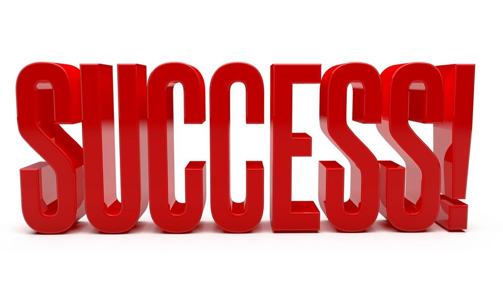 RED WORD SUCCESS Clean, reflective red word SUCCESS with ...