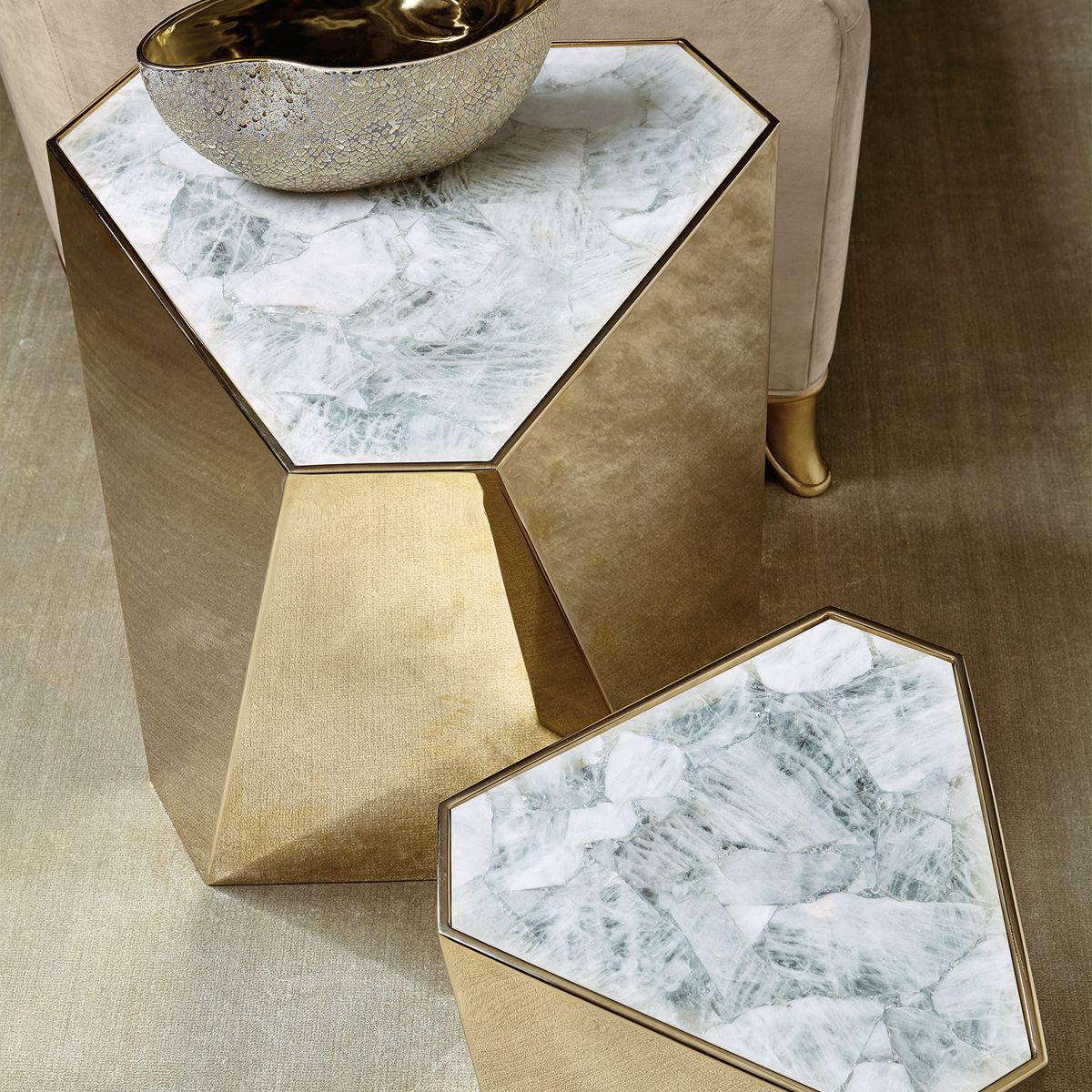Coming soon, my Milne Gold Side Tables features a highly polished geometric profile, along with a luxury crystal stone top - sure to command attention in any home. http://www.maxsparrow.com.au/products/milne-gold-side-table-small