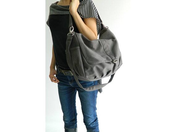 b77c9c6f1c46 SALE - Christmas promo 15% off - Daniel in gray - canvas - zipper closure   Shoulder  bag   Cross Body Messenger  41.65