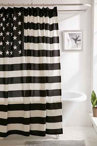 Black + White American Flag Shower Curtain   Urban Outfitters