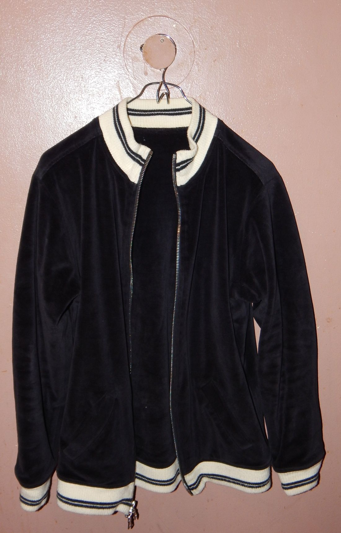 Linder Nyc Linder Nyc Black Velour Track Jacket With 2 Way Zip F/W