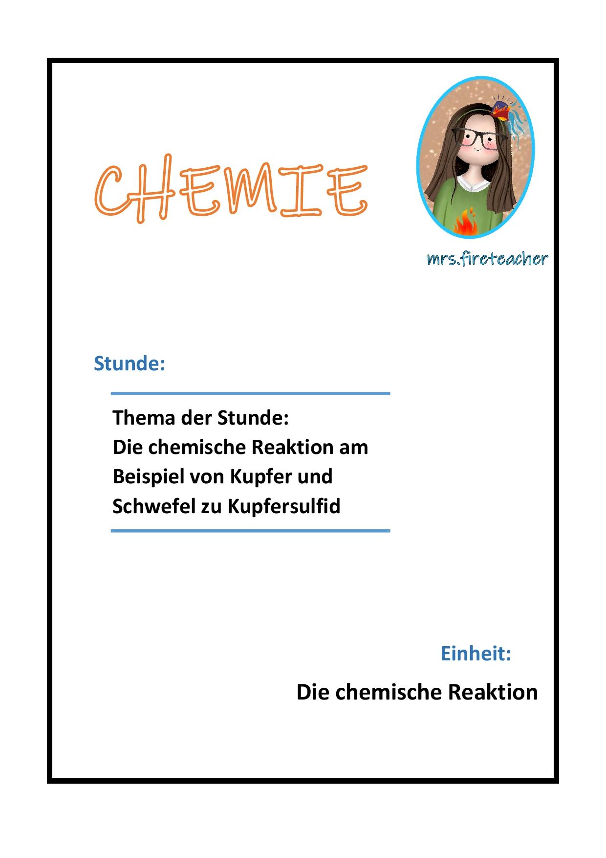 Versuch Kupfer Und Schwefel Stundenentwurf Die Chemische Reaktion Unterrichtsmaterial Im Fach Chemie In 2020 Chemische Reaktion Chemie Chemisch