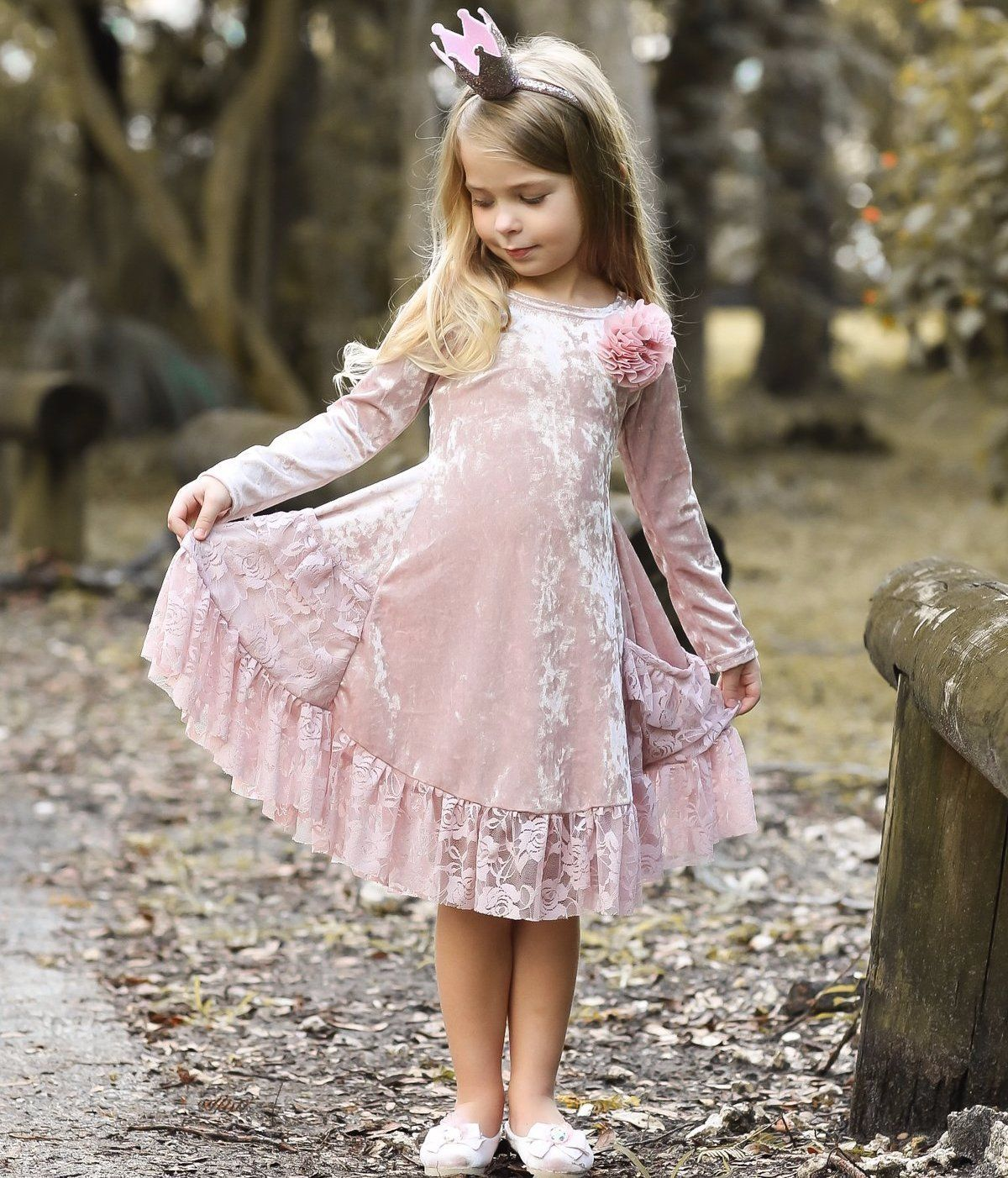 Girls Dusty Pink Velvet Princess Holiday Dress with Lace Ruffled