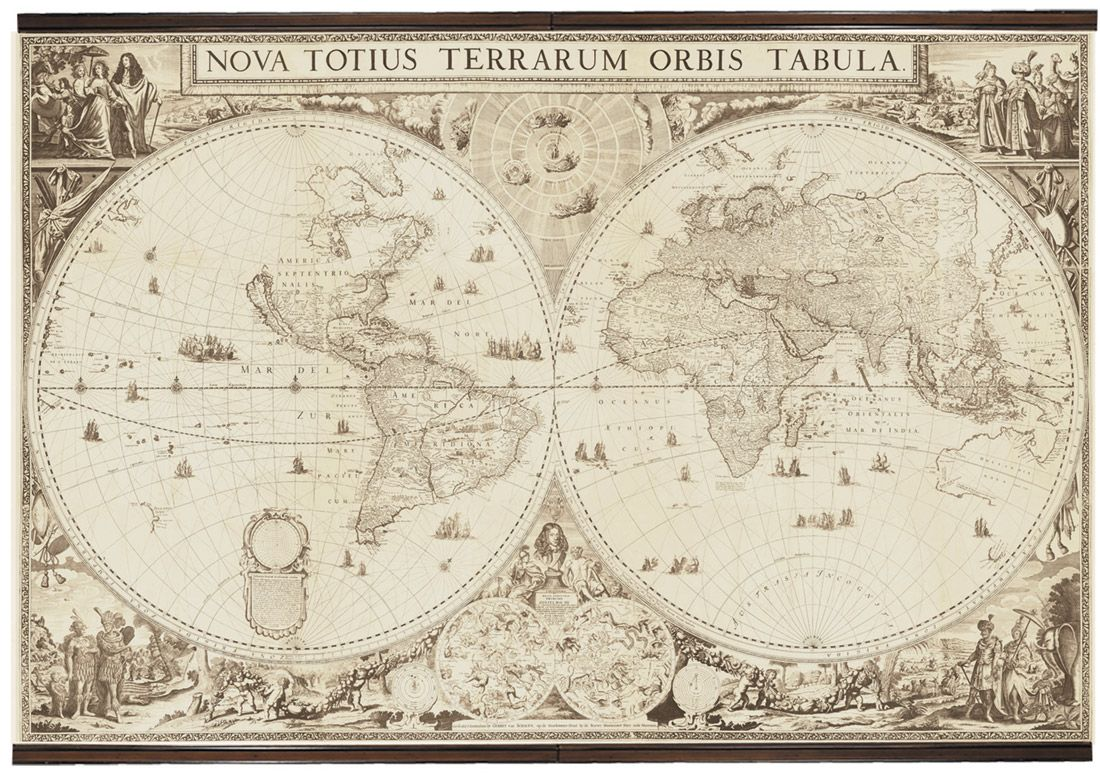 Historic 1690 map of the world fabric giclee wall mural mapas historic 1690 map of the world fabric giclee wall mural gumiabroncs Image collections