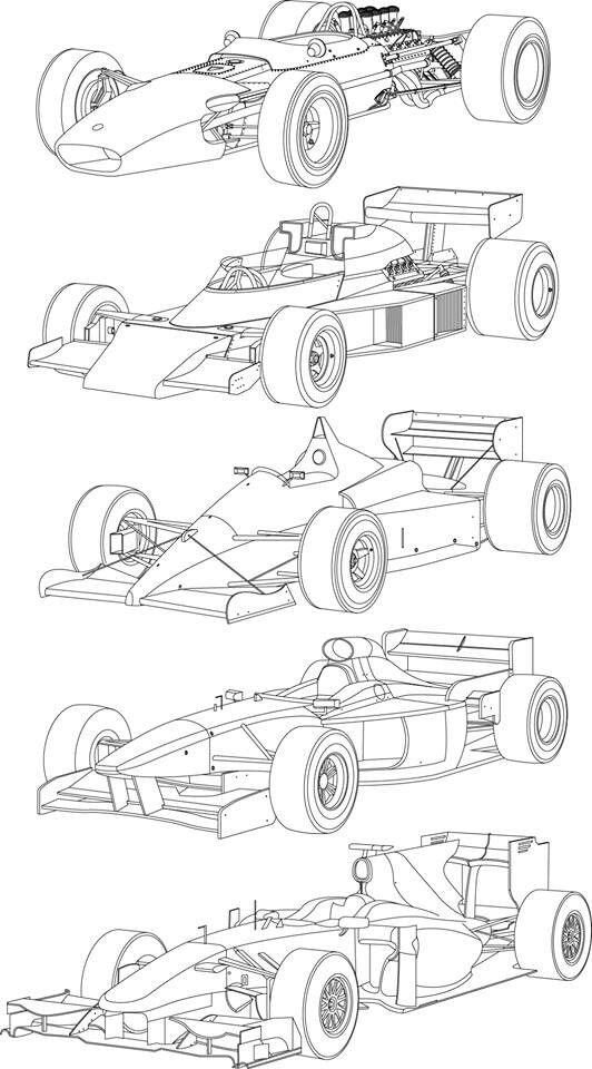 Open Wheel Evolution Line Drawing Como Dibujar Coches Dibujos