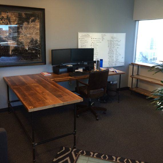 Industrial Style L Shaped Wood Desk For Your Office Or Living Space Made  With Old Growth Wood. Modern Office Furniture Configured And Custom Made By  Hand ...
