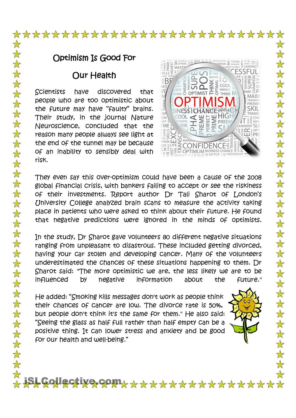 Optimism Is Good For Your Health English Language Learning Activities Esl Reading Reading Passages [ 1440 x 1018 Pixel ]