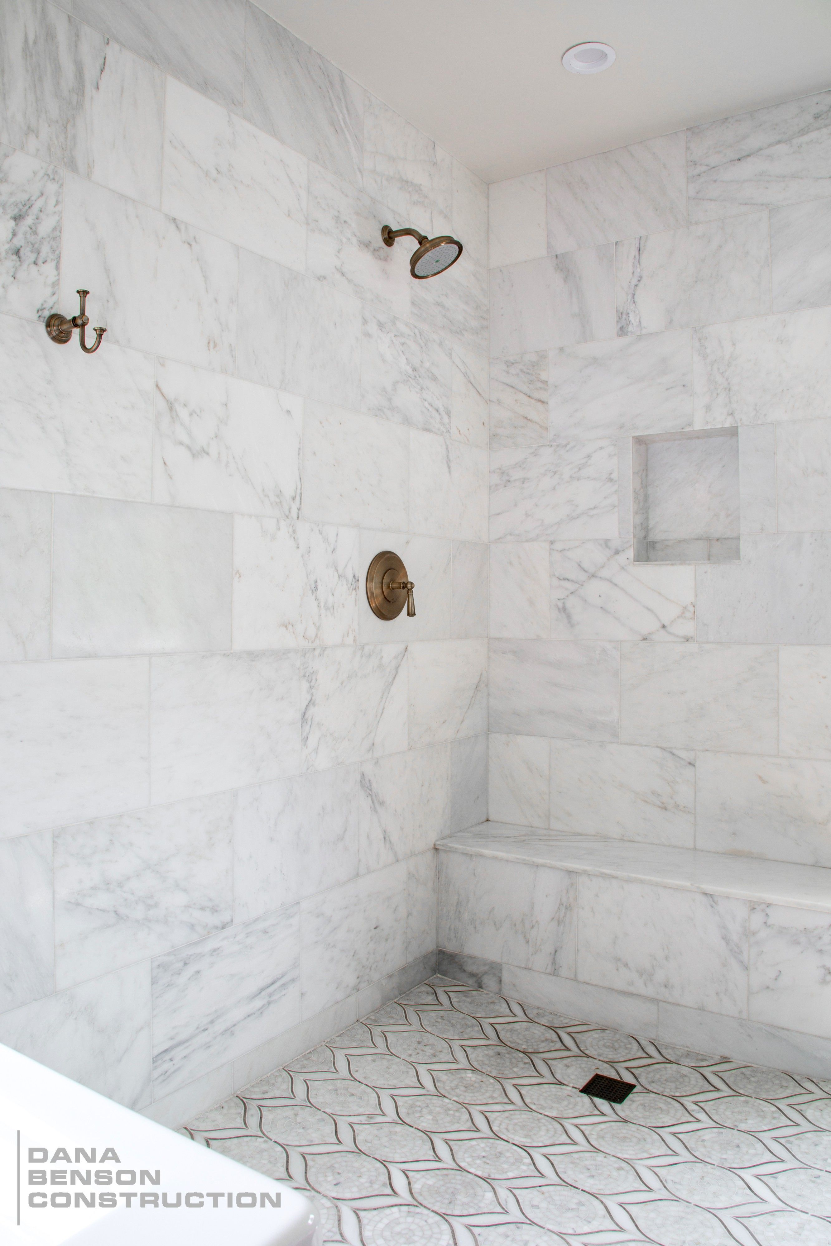 Modern Transitional Shower with Marble Tile Bathroom by Dana Benson ...