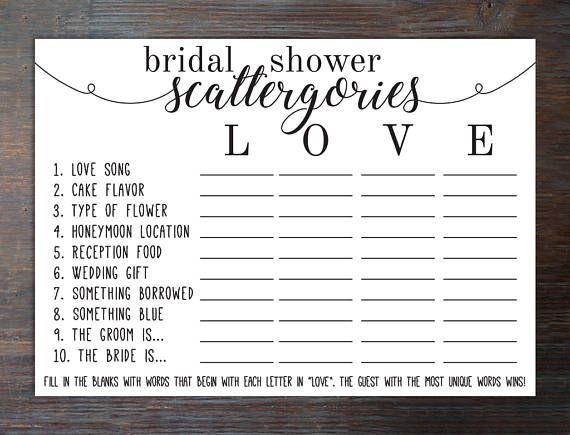 Bridal Shower Scattergories Game . Bridal Shower Scattegories . Scattegories for Bridal Shower . Scattegories . Scattergories . Categories