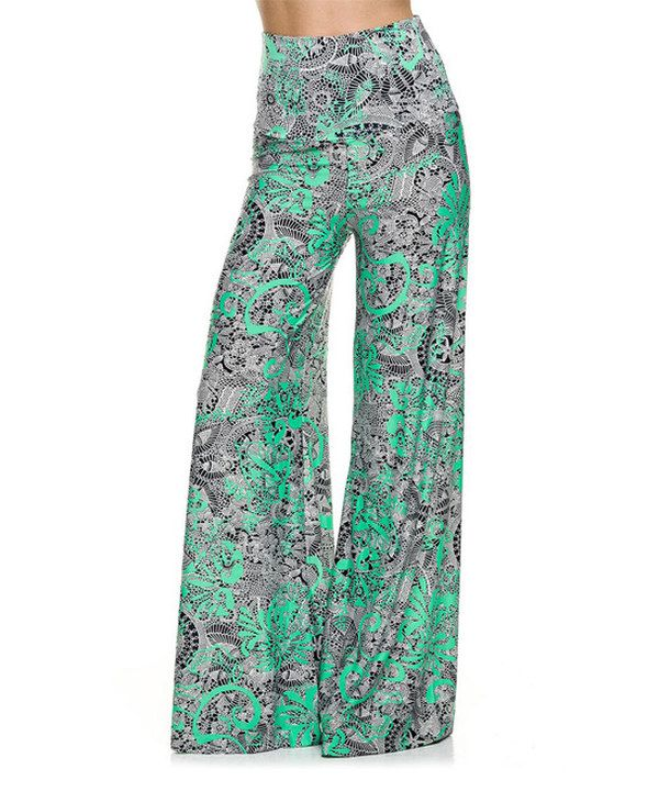 Look at this 2NE1 Apparel Green & Black Tropical Palazzo Pants - Women on #zulily today!