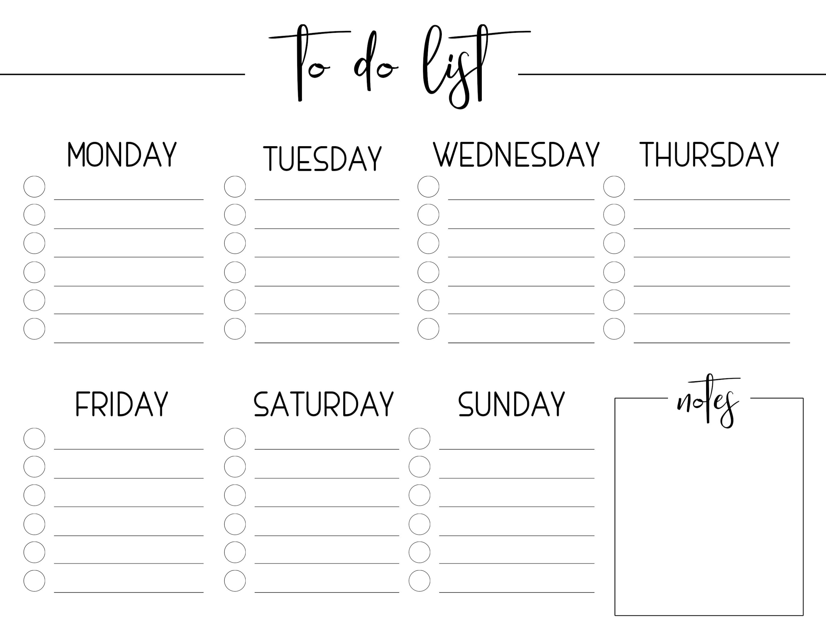 Weekly Free Printable To Do List
