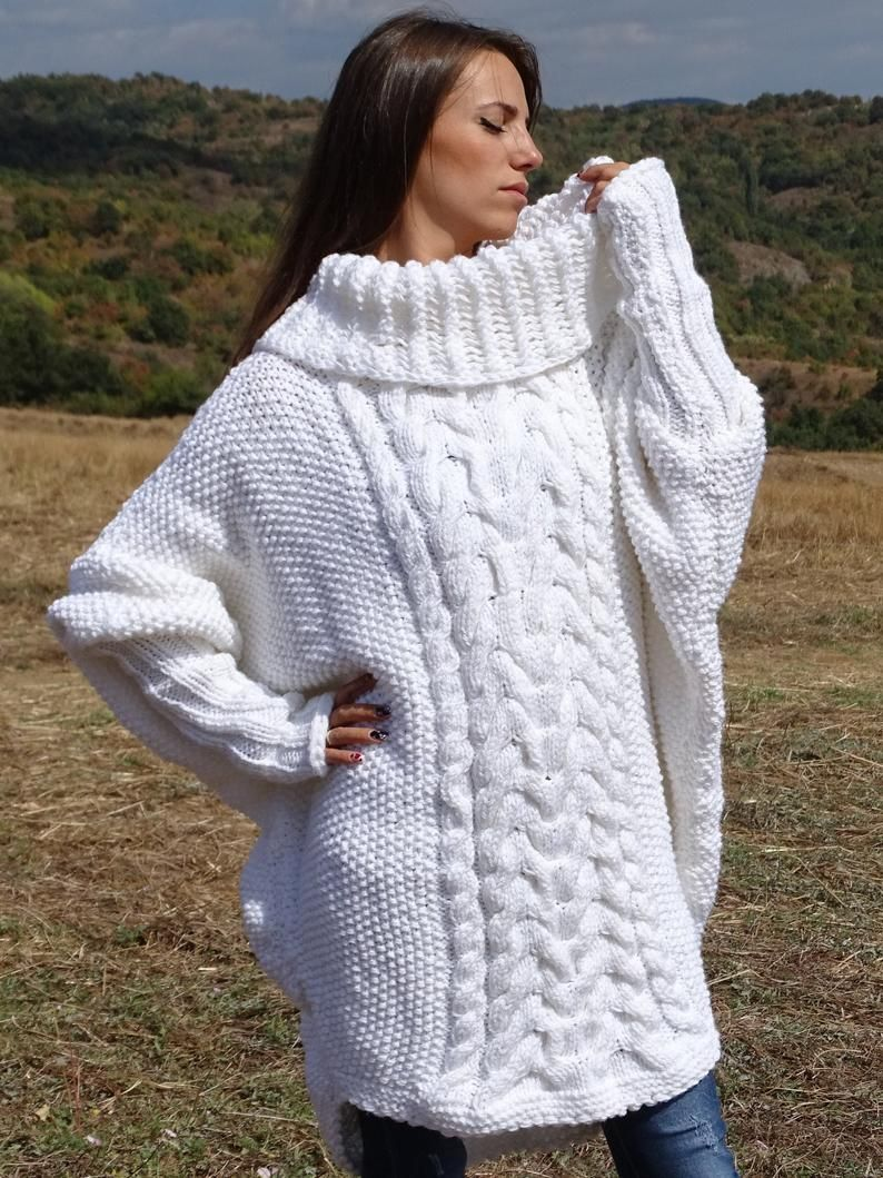 Photo of White mohair Sweater,Hand Knit Sweater,Crewneck Jumper,Oversized Sweater, Men sweater Pullover * MADE to ORDER