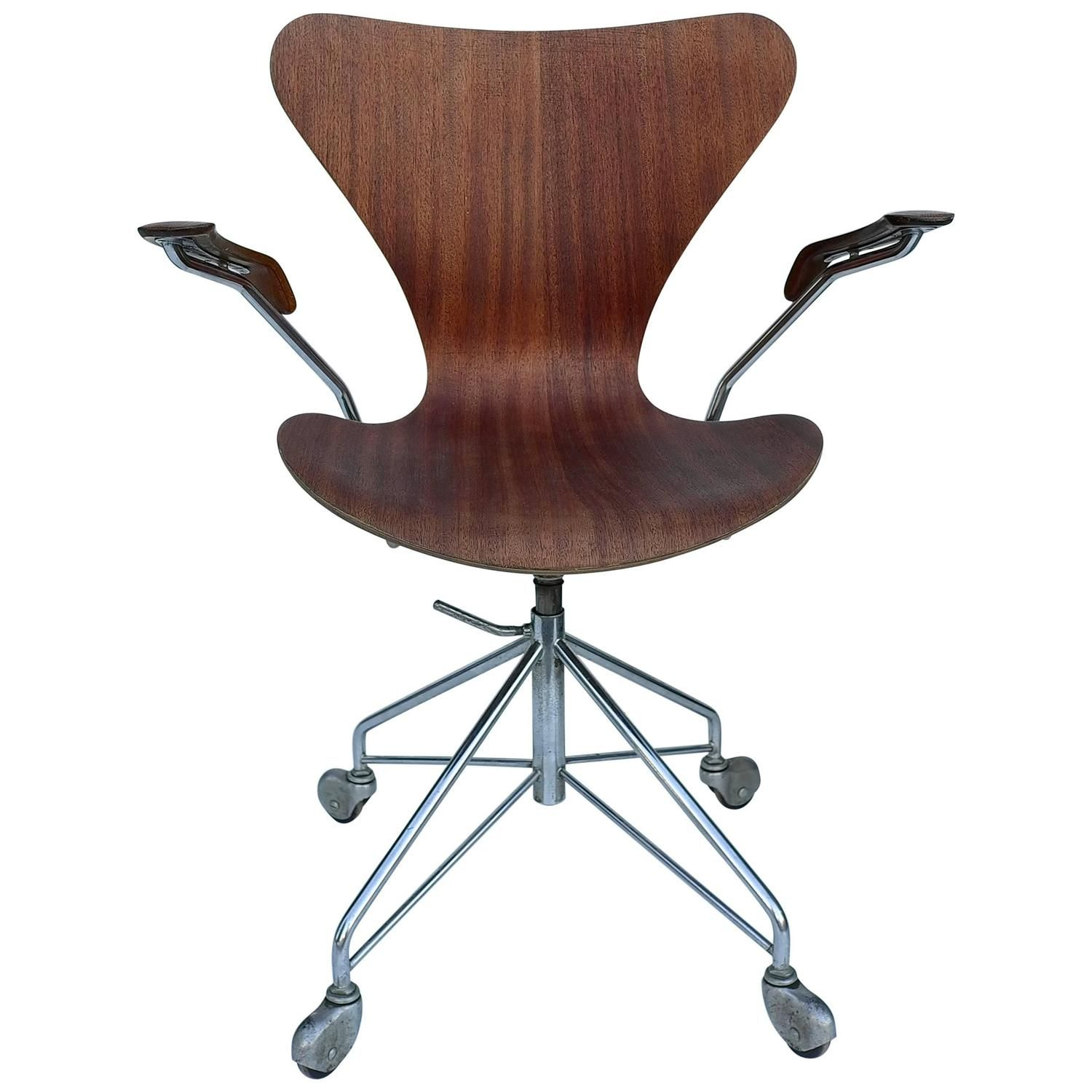 Early Arne Jacobsen Office Chair By Fritz Hansen Denmark