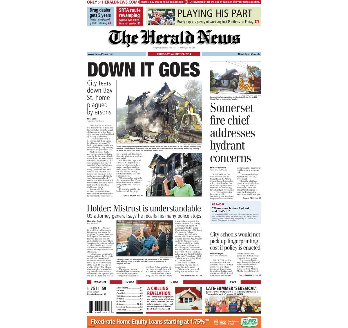The front page of today's Herald News. Read the stories at