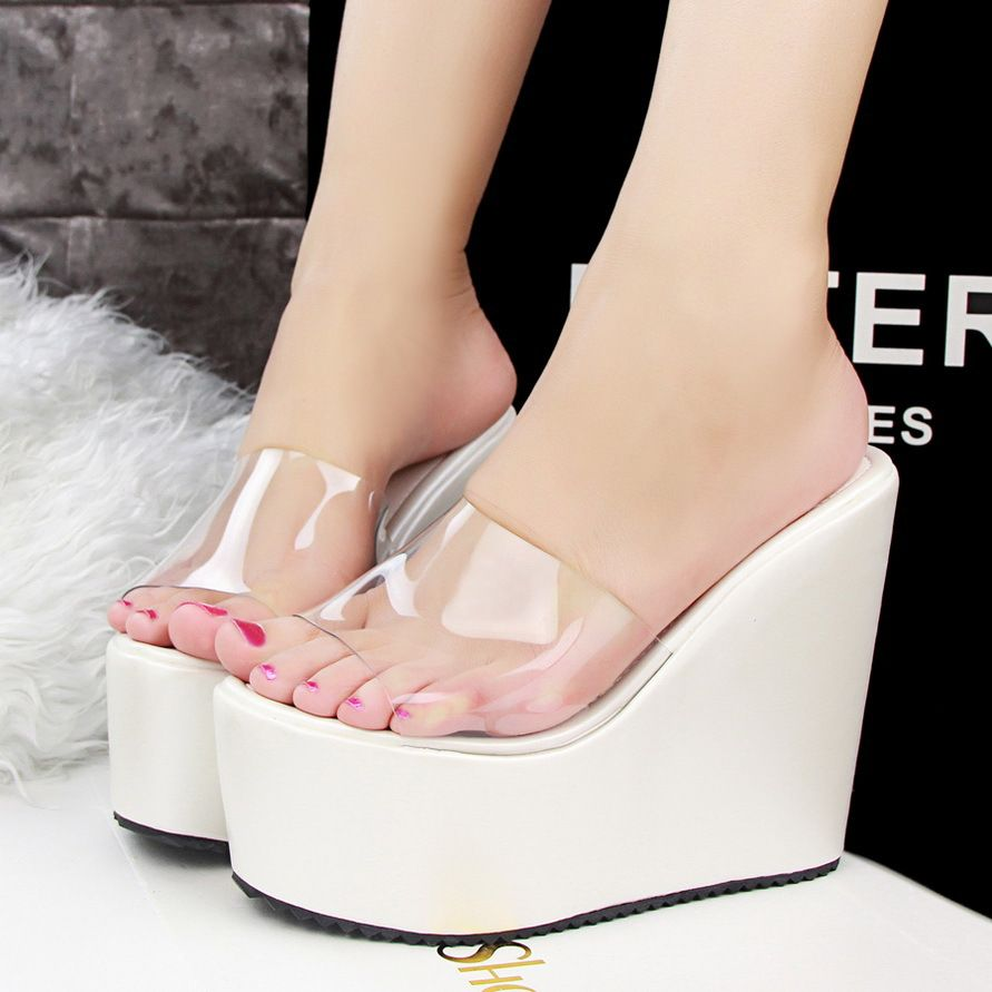 22912b8e8c315 Fashion Shoes Woman Transparent Trifle Wedge Sandals Open Toe Slipper Solid Platform  Shoes Summer Style Slides Pumps-in Women s Sandals from Shoes on ...