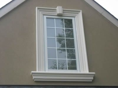 Window detail on bucks county home exteriors pinterest for Exterior keystone molding