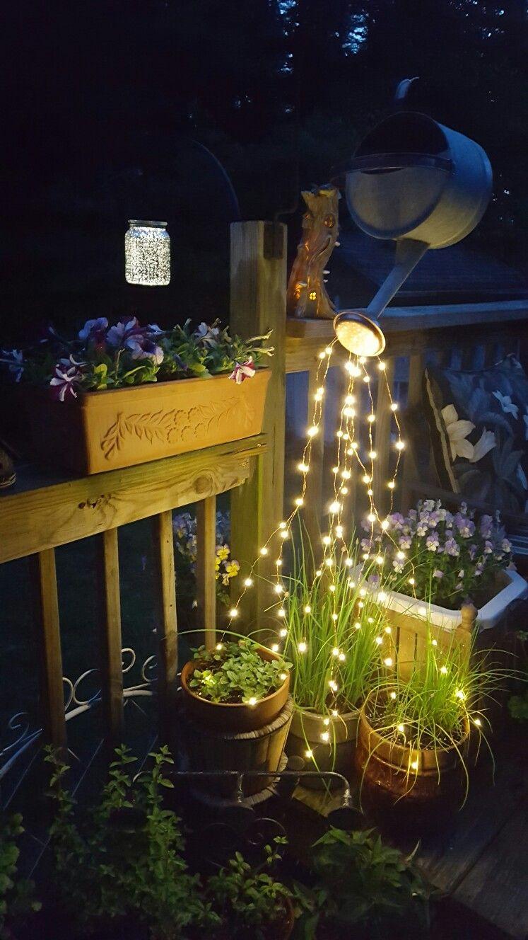 Watercan fairy lights Diy garden projects, Outdoor diy