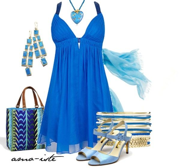 """""""Vacation Blues - Evening"""" by amo-iste on Polyvore"""