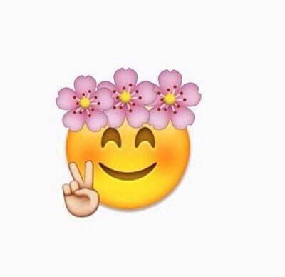 Flower Crown Peace And Blushing Emoji Emoji Wallpaper Iphone Emoji Flower Cute Emoji Wallpaper