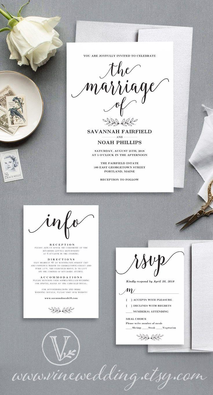 Modern Calligraphy Wedding Invitation, Printable Wedding Invitation ...