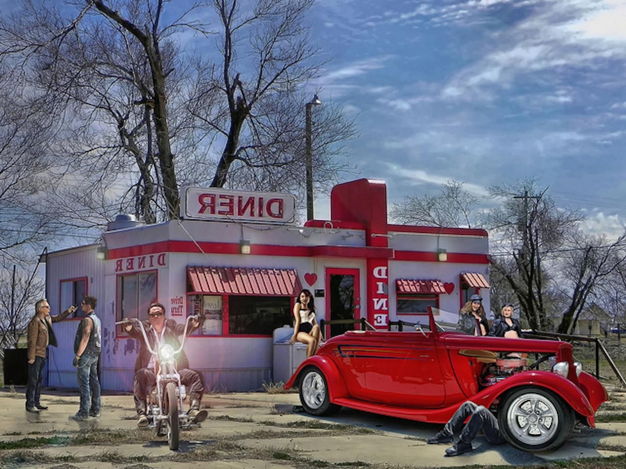 retro diner wallpaper american diner retro motorbike usa abstract 50s diner and soda. Black Bedroom Furniture Sets. Home Design Ideas