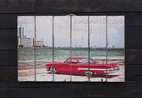 Chevrolet Picture on wood Print transfer Transfer on wood Wood wall ...